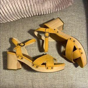 Yellow Studded Block Heels